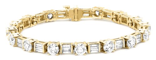 IGI Certified 14k Yellow Gold Baguette and Round-Cut-Cut Diamond Tennis Bracelet (10 1/3 cttw, H-I Color, SI1-I2 Clarity), 7