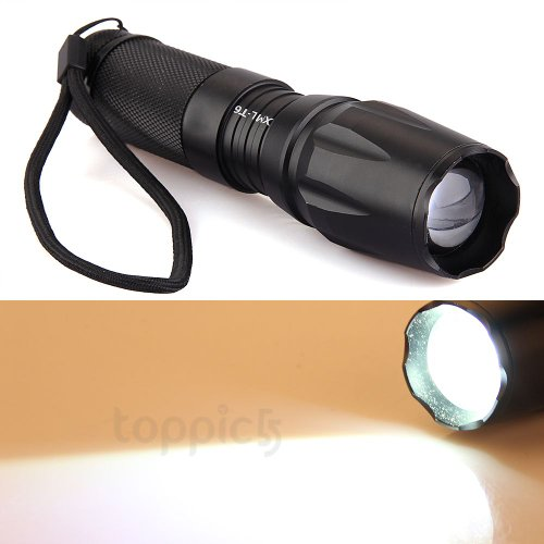 Cree Xm-L T6 Led Torch Flashlight 1600Lm Zoomable 5 Modes For Hiking Camping
