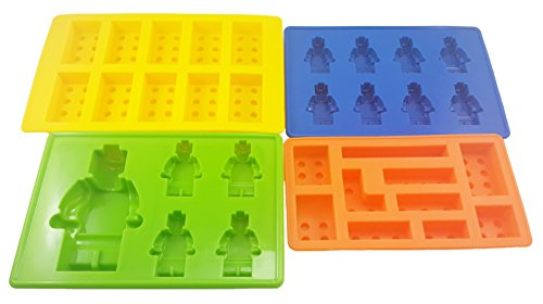 Ujoy Silicone Building Bricks and Minifigure Ice Cube Tray or Chocolate Candy Crayon Jelly Soap Mold Set For Lego Lovers and Kids