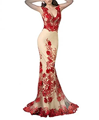 Newdeve Deep V-cleavage Embroidery Backless Red/Champagne