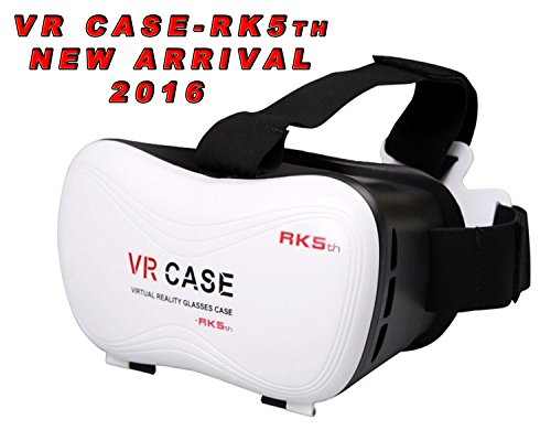 VR Case 5.0, UKINDA 2016 Version Virtual Reality 3D VR Headset for iPhone Samsung Galaxy and All other 3.5-6.0 inch iOS Android Smartphones, White