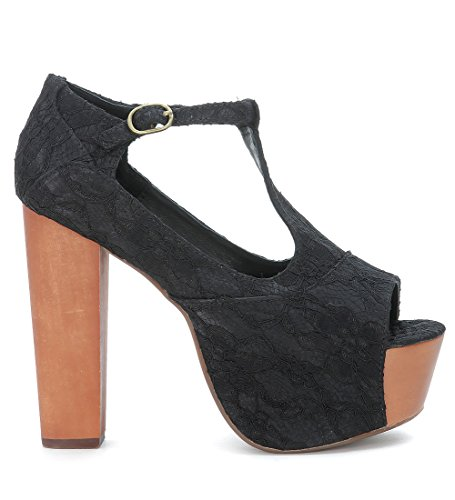 Jeffrey Campbell scarpe donna mary jane FOXY WOOD F0158 LACE pizzo nero TG 36