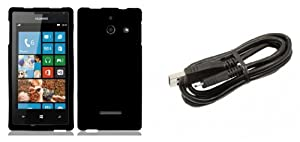 Huawei W1, Ascend W1 H883G - Premium Accessory Kit - Black Hard Shell Case Shield Cover + ATOM LED Keychain Light + Micro USB Cable