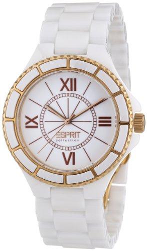 Esprit EL101322F04 - Reloj analógico de cuarzo para mujer con correa de acero y cerámica, color blanco