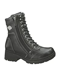 Harley-Davidson® Wolverine® Women's Tessa 6-Inch Lace-Up and Side Zip Motorcycle Boots. Black. 1.75-Inch Heels...