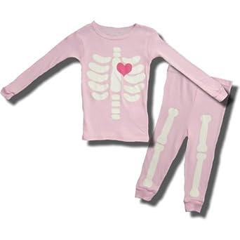 Halloween Glow in the Dark Pink Skeleton Pajamas for Toddler Girls - 4T