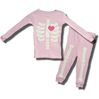 Halloween Glow in the Dark Pink Skeleton Pajamas for Toddler Girls - 4T
