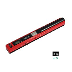 FastSnail Portable Document & Image Scanner up to 900 DPI, Magic Wand Handheld wireless A4 Scanner with 16G Micro SD Card Red
