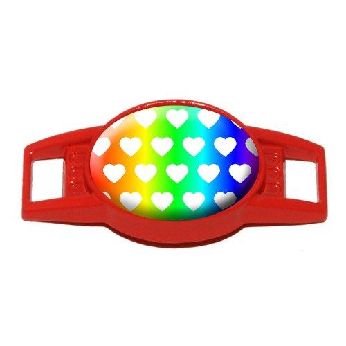 Sweet Heart Pattern Rainbow White - Shoe Sneaker Shoelace Charm Decoration - Red