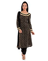 GEROO Women's Hand Blocked Printed Silk Suit with Churidhar and Dupatta Set (SUV-3_Black_34)