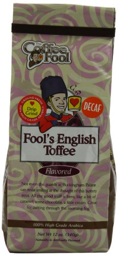 The Coffee Fool Drip Grind, Fool'S Decaf English Toffee, 12 Ounce