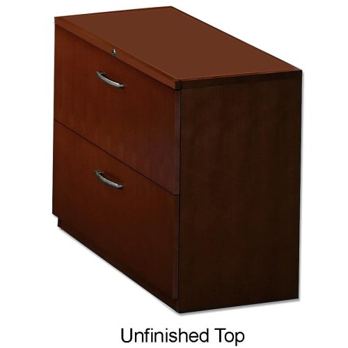 "Mayline Corsica Series Two Drawer Lateral File - 36"" Width X 18"" Depth X 27.5"" Height - 2 - Beveled Edge - Veneer, Wood - Mahogany"