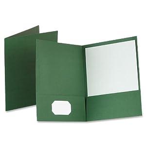 Oxford 53434 Linen Twin Pocket Portfolios, Hunter Green, 25 Per Box