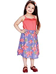 KASHANA Kids Pure Cotton Blue & Red Floral Printed Sleevless Girls Baby Kids Casual Dresses & Frocks