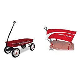 Radio Flyer Classic Red Wagon with Wagon Canopy Bundle