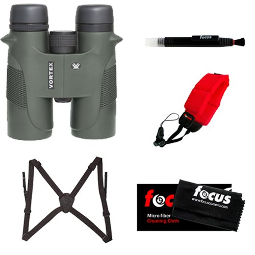 Vortex Optics Diamondback 10X42 Binocular + Vanguard Optic Guard Binocular Harness + Focus Foam Float Strap Red + Kit