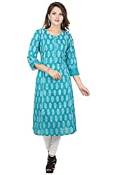 Amour Blue Cotton Cambric 60S Straight Digital Printed Kurti For Women_S