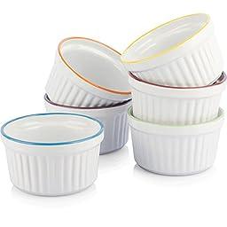 Uno Casa Creme Brulee Ramekins - Set of 6, 5oz - White Ceramic with Colored Rims