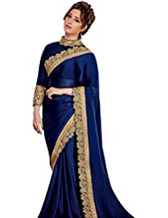 Women's Navy Blue Embroidered Pure Satin Silk Saree (Blue_Velvet_Border)
