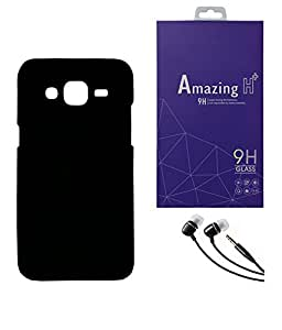 SAMSUNG Galaxy J1 Ace MOCELL Hard Black Back Case Cover With Tempered Glass Screen Protector & 3.5mm Super Sound Quality Earphone with Mic Combo