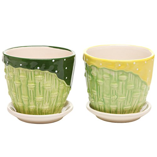 MyGift® Bamboo Garden Series Ceramic Flower Pot Planter w/ Attached Saucer - Set of 2 - Green & Yellow