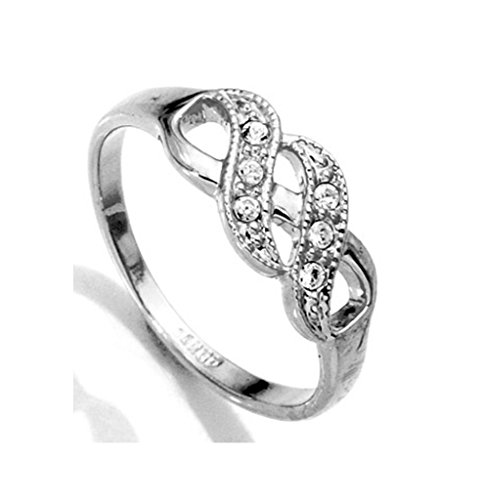 BBX Jewelry White Infinity Ring-Centered CZ Stone Available in Sizes 6-8