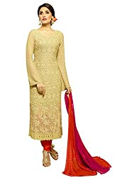 Zombom Beige Georgette Embroidered Un-stitched Salwar Suit