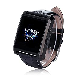 LEMFO Bluetooth Leather Smart Watch with Camera IPS Screen 360mAh Battery Waterproof for IOS iPhone Android Smartphone (Black)