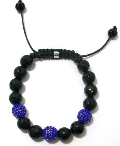 Just Give Me Jewels Yoga Style Royal Blue Pave Crystal and Black Onyx Ball Bracelet