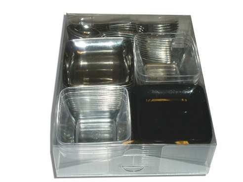 Mise en bouche:kit cocktail de 54 pièces, plastique, décor argent métallisé