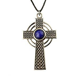 Small Celtic Cross with 8mm Lapis Lazuli Gemstone on Adjustable Natural Fiber Cord