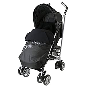 Zeta Vooom Stroller Complete with Foot Muff and Raincover (Black Hearts and Stars) from Zeta