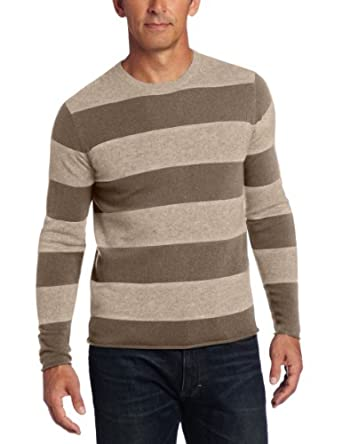 Williams Cashmere 100% Cashmere Striped 男士圆领羊绒衫驼色$65.69