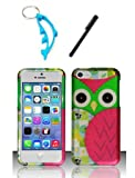img - for Zizo 3 Items Combo For Apple iPhone 5c Colorful Pink Owl Design Rubberized Hard Case Snap On Protector Cover + Free Stylus Pen + Free Alloy Beer Bottle Opener Dolphin Keychain book / textbook / text book