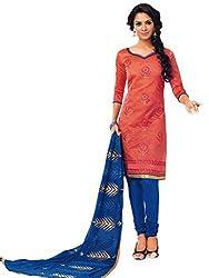 JCM chanderi salwar suit red color for party wear