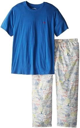 Tommy Bahama Men's Big-Tall Pajama Set - Tee and Tropical Passport Printed Pant, Bright Cobalt, 4X Tall