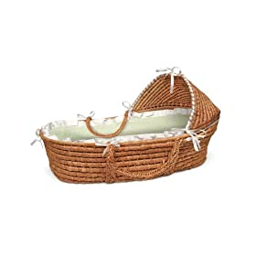 Honey Hooded Baby Moses Basket with Sage Gingham