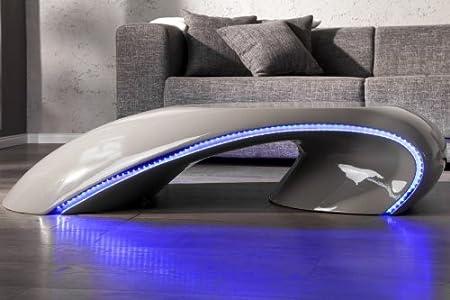 DuNord Design Table basse Tube avec éclairage LED, gris, 135cm x 61cm x 33cm