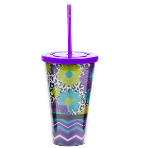 24 Oz Double Wall Violet Acrylic Tumbler With Flowers Pattern And Flip-On Lid