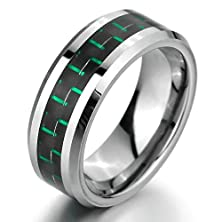 buy Bishilin 8Mm Men'S Titanium Rings Wedding Band Black And Green Carbon Fiber Inlay Comfort Fit Size 12