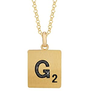 Gold Plated Sterling Silver .05 CTW Black Diamond Letter