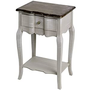 Shabby Chic Antiqued French Grey 1 Drawer Bedside Table Lamp Table End Table Full Range
