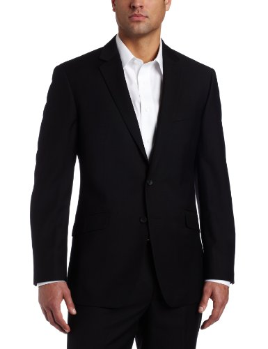 Kenneth Cole Reaction Mens Black Solid Suit Separate Coat, Black, 38 Regular