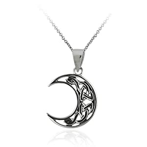 Sterling Silver Celtic Knot Crescent Moon Pendant with Rolo Chain, 18