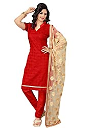 Voguish Red Coloured Embroidered Dress Material