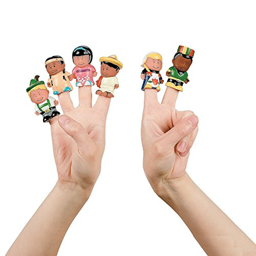 Dozen Kids Around the World Finger Puppets