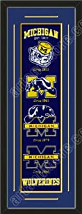 Heritage Banner Of Michigan Wolverines With Team Color Double Matting-Framed Awesome... by Art and More, Davenport, IA