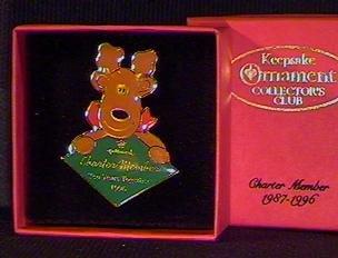 QXC4184 Hallmark Collector's Club Charter Member Lapel Pin 1987-1996 Rodney Reindeer