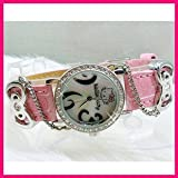 Hello Kitty Diamante Style Ladies Fashion Wrist Watch in Pink Color with Free Love Heart Necklace