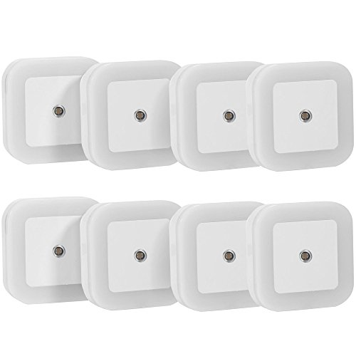 SOAIY Plug-in LED Night Light with Smart On / Off Sensor, White (6500K), Pack of 8 (Light Night Led compare prices)
